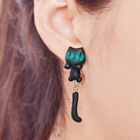 handmade soft clay earrings three-dimensional cartoon kitten green eyes cat earrings wholesale nihaojewelry NHGY219220's discount tags