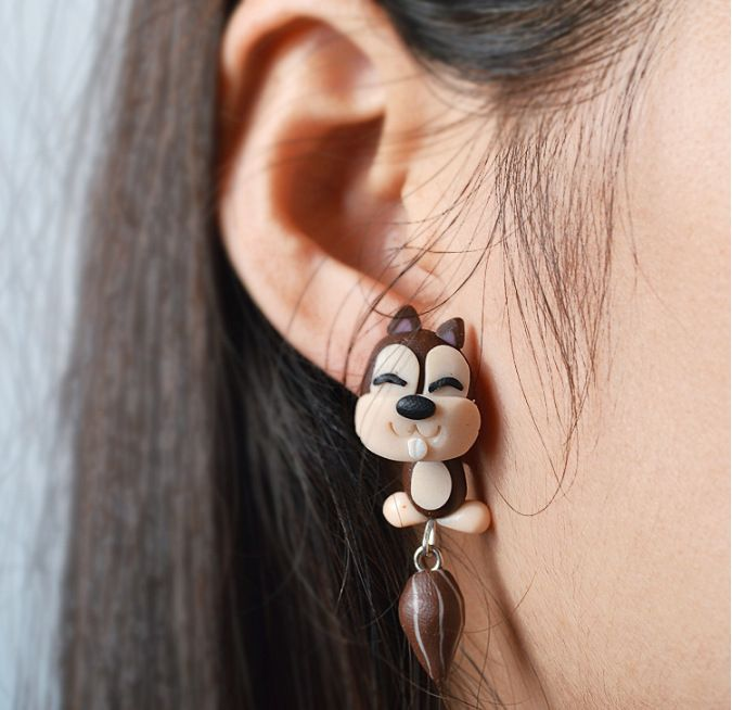 jewelry soft clay cartoon squirrel animal split earrings wholesale nihaojewelry  NHGY219221