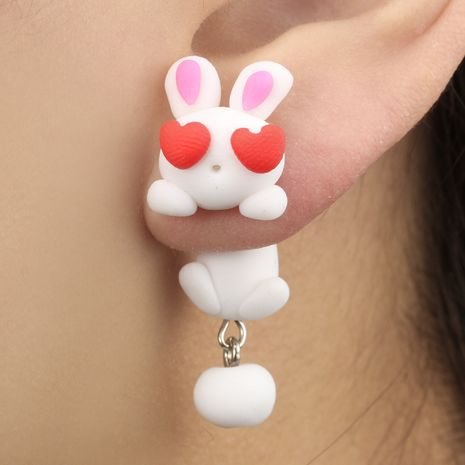Cute soft clay three-dimensional animal earrings red love eyes rabbit earrings white split rabbit earrings wholesale nihaojewelry NHGY219223's discount tags