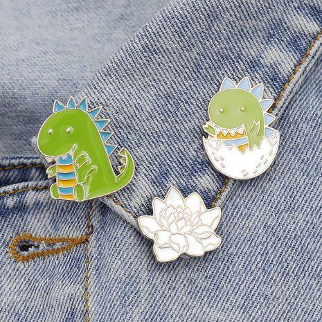 new small dinosaur brooch egg shell dinosaur baby badge cute lotus badge bag cowboy badge wholesale nihaojewelry  NHMO219157's discount tags