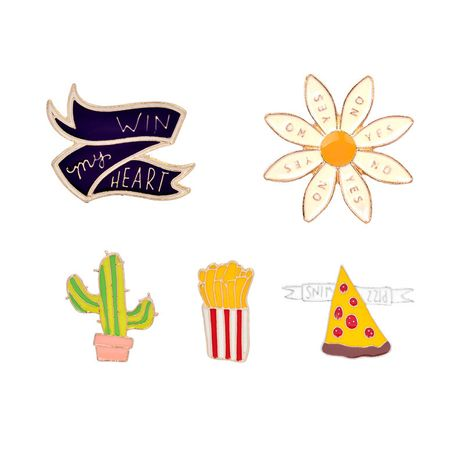 fashion explosion models brooch personality cute cartoon cactus fries pizza chrysanthemum alloy drop oil brooch suit wholesale nihaojewelry NHMO219236's discount tags