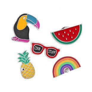Fashion brooch cartoon cute brooch woodpecker watermelon pineapple rainbow brooch clothing accessories bag accessories wholesale nihaojewelry NHMO219261's discount tags