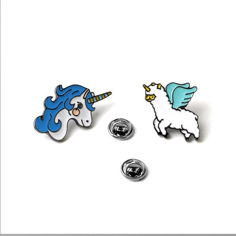 Fashion brooch creative cartoon fashion anime unicorn Pegasus brooch collar pin clothing accessories wholesale nihaojewelry NHMO219262's discount tags