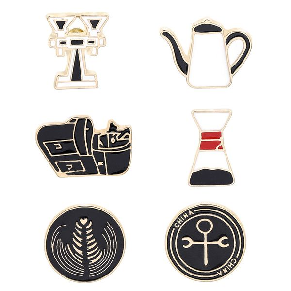 Fashion brooch cartoon retro coffee series coffee garland creative brooch accessories wholesale nihaojewelry NHMO219266