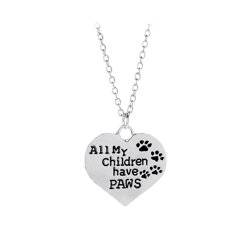 The new oil drop cat paw print letter necklace All My Chilldren Have Paws love dog paw necklace wholesale nihaojewelry NHMO219281