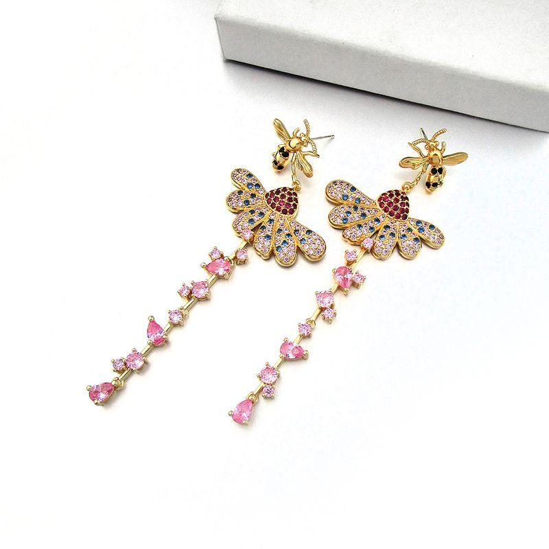 new fashion copper inlaid zircon earrings 925 silver needle hypoallergenic earrings bees and flower earrings wholesale nihaojewelry NHLJ219302