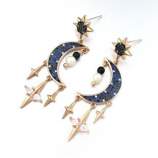 New silver needle sun earrings moon earrings family fashion earrings copper inlaid zircon fashion wild earrings wholesale nihaojewelry NHLJ219303's discount tags