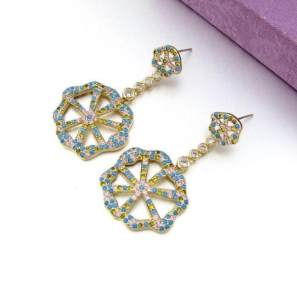 New fashion light luxury earrings 925 silver needle hypoallergenic star the same paragraph lemon slice earrings girl multicolor earrings wholesale nihaojewelry NHLJ219304