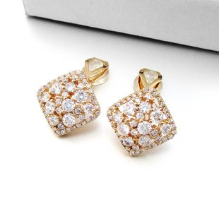 New Korean fashion high-quality zircon square ear clips fashion exquisite atmospheric earrings girls square earrings wholesale nihaojewelry NHLJ219306's discount tags