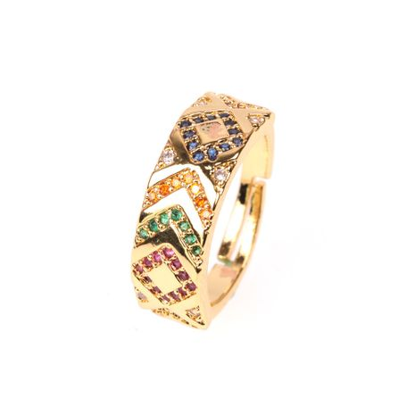 new micro-set color diamond pattern wide ring men and women couples trendy index finger ring wholesale nihaojewelry NHPY219307's discount tags