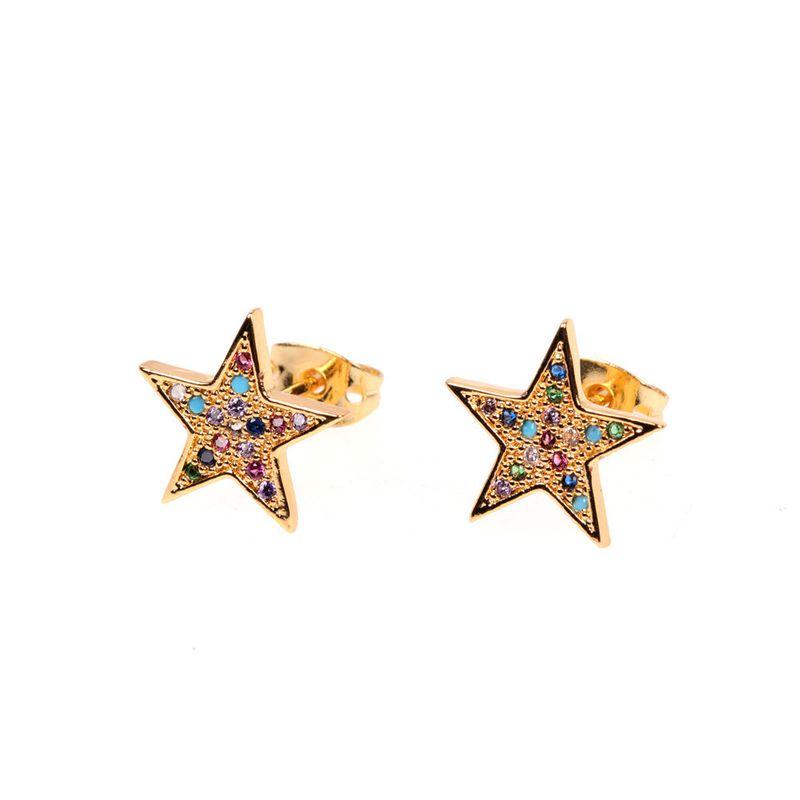 supply of new colored diamond pentagram small earrings stars summer small fresh diamond sweet earrings wholesale nihaojewelry NHPY219308