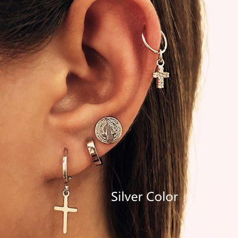 mode croix oreille goujon ensemble 4 pièces ensemble créatif rétro simple boucles d'oreilles en alliage en gros nihaojewelry NHPJ219321's discount tags