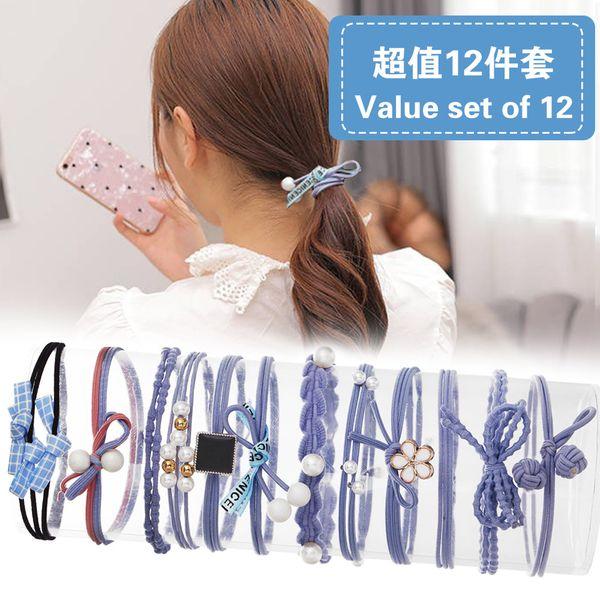 hair rope hair accessories tie hair ponytail rubber band sweet head rope hair ring 12 sets wholesale nihaojewelry NHPJ219327