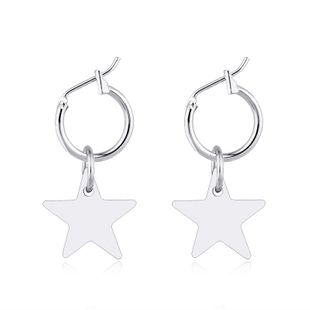 fashion jewelry new simple and cute pentagram pendant earrings fashion star circle earrings wholesale nihaojewelry NHGJ219361's discount tags