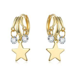 new zircon star multi-layer pendant small earrings cute simple hoop earrings ear buckle explosion wholesale nihaojewelry NHGJ219366's discount tags