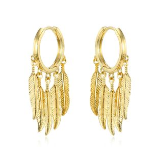 retro multi-layer feather pendant ear ring personality long leaf circle ring earring ear buckle wholesale nihaojewelry NHGJ219365's discount tags