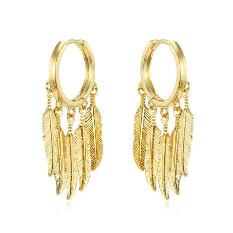rétro multi-couche plume pendentif oreille anneau personnalité longue feuille cercle anneau boucle d'oreille boucle d'oreille boucle en gros nihaojewelry NHGJ219365's discount tags