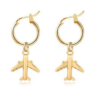 Nueva moda de oro pequeño avión colgante del anillo del oído simple personalidad pendiente hebilla del oído al por mayor nihaojewelry NHGJ219368's discount tags
