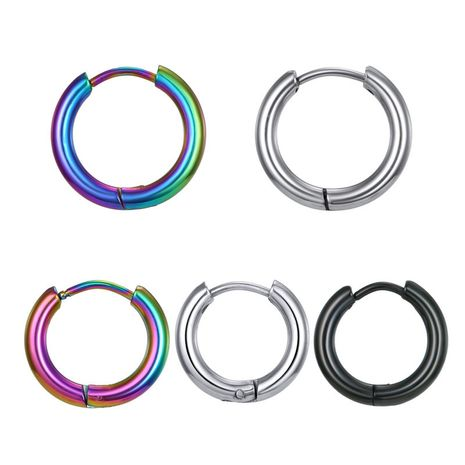 punk simple stainless steel titanium steel round earrings ear buckle wild earrings wholesale nihaojewelry NHGJ219371's discount tags