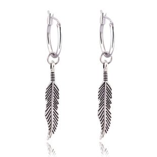 Retro Bohemian Long Feather Pendant Earrings Ancient Silver Leaf Circle Earrings wholesale nihaojewelry NHGJ219374's discount tags