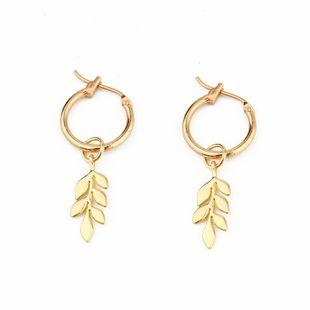 Modelos de explosión nueva moda simple hojas pequeñas pendientes pendientes de oreja de trigo pendientes de mujer al por mayor nihaojewelry NHGJ219375's discount tags