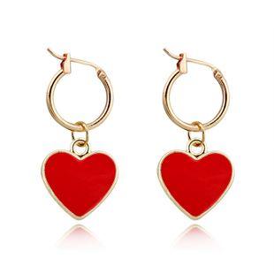 South Korea cute simple red love pendant ear ring oil drop heart earrings wholesale nihaojewelry NHGJ219377's discount tags