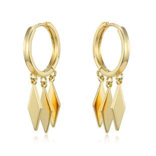 Nueva personalidad de la moda diamante geométrico colgante de múltiples capas del anillo del oído Anillo de la borla del aro pendiente de la hebilla del oído al por mayor nihaojewelry NHGJ219378's discount tags