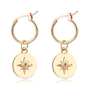 fashion explosion earrings fashion simple round carved meteor pendant ear ring ear buckle hot wholesale nihaojewelry NHGJ219385's discount tags