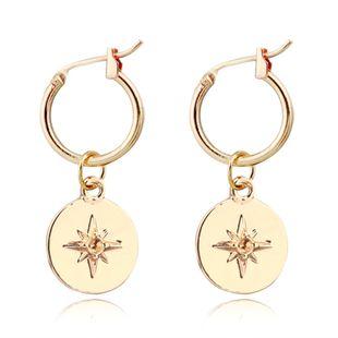 Pendientes de explosión de moda moda simple redondo tallado meteorito colgante anillo de oreja hebilla de oreja caliente al por mayor nihaojewelry NHGJ219385's discount tags