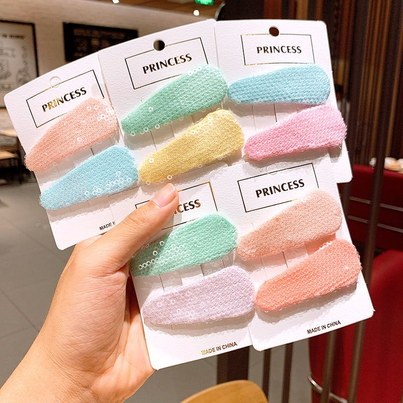 Children's side clip candy-colored sequins water drop clip girl hair clip bb clip Korean simple hairpin baby hair accessories headdress NHSA219394