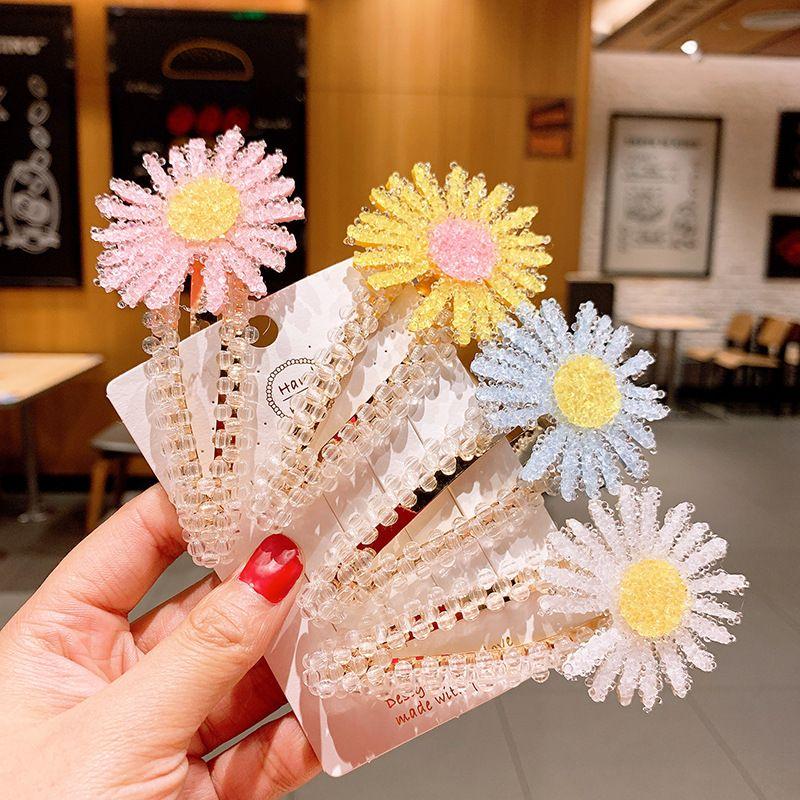 Korean fashion spring and summer small daisy hairpin crystal BB clip flower rhinestone edge clip Mori headdress NHSA219396