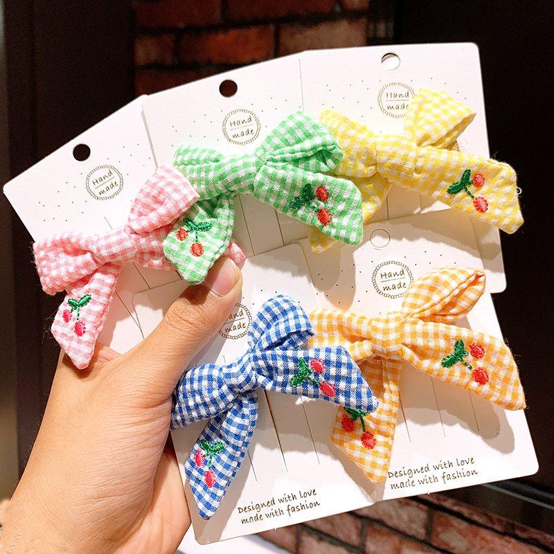 Children's hair accessories Korean princess cute big bow cherry lattice hairpin baby hairpin girl side clip headdress NHSA219399