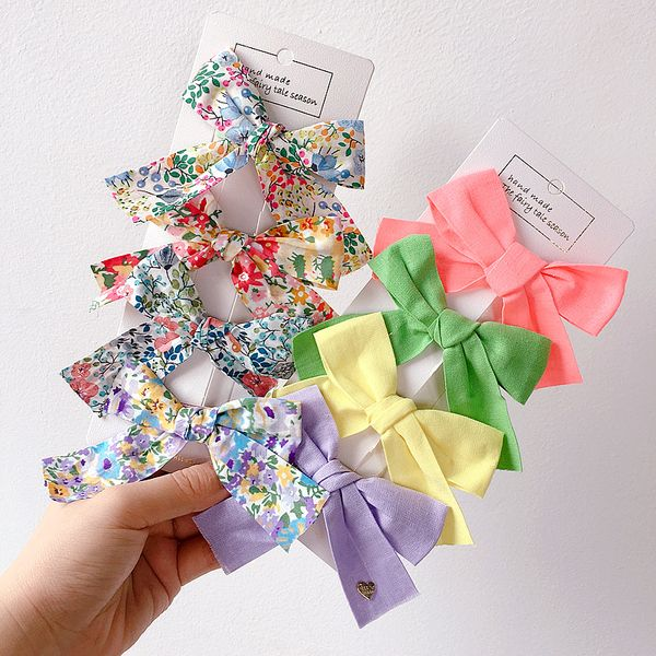 New retro French floral solid color fabric bowknot girl top clip side hair ornament headdress NHHI219402