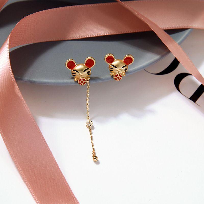 year of the rat natal year earrings s925 silver needle cute asymmetric earrings long wild mouse earrings wholesale nihaojewelry NHQD219416