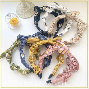 New Korean Retro British lattice stitching embroidery small daisy flower bow wild headband wholesale nihaojewelry NHOF219448's discount tags