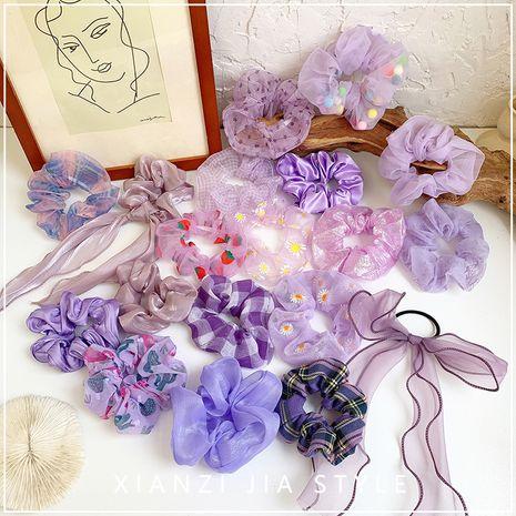 Gomas para el pelo de niña púrpura caseros retro color sólido anillo de pelo de intestino grueso suave tela simple cuerda de pelo al por mayor nihaojewelry NHOF219456's discount tags
