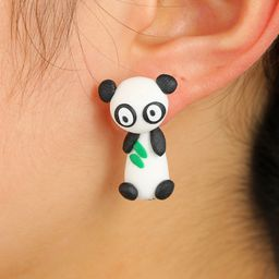 Cute cartoon animal three-dimensional soft ceramic earrings cute panda earrings bears eating bamboo leaves split earrings wholesale nihaojewelry NHGY219465