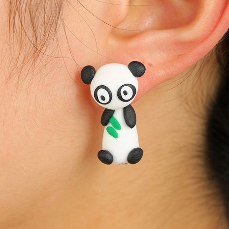 Cute cartoon animal three-dimensional soft ceramic earrings cute panda earrings bears eating bamboo leaves split earrings wholesale nihaojewelry NHGY219465's discount tags