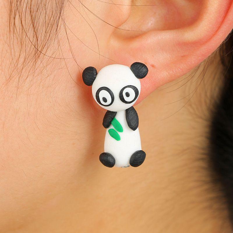 Cute cartoon animal threedimensional soft ceramic earrings cute panda earrings bears eating bamboo leaves split earrings wholesale nihaojewelry NHGY219465