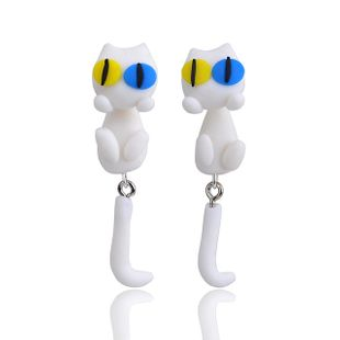 Cute little white cat soft clay earrings animal simulation earrings double color eyes handmade soft clay wholesale nihaojewelry NHGY219466's discount tags
