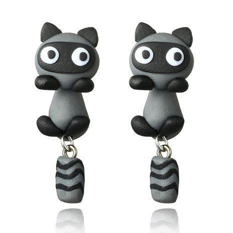 handmade soft ceramic small raccoon earrings cartoon personality split earrings wholesale nihaojewelry NHGY219467's discount tags