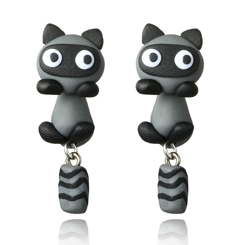 handmade soft ceramic small raccoon earrings cartoon personality split earrings wholesale nihaojewelry NHGY219467