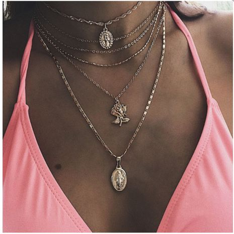 Summer new product personality exaggerated accessories fashion wild geometric alloy rose Jesus necklace wholesale nihaojewelry NHGY219471's discount tags