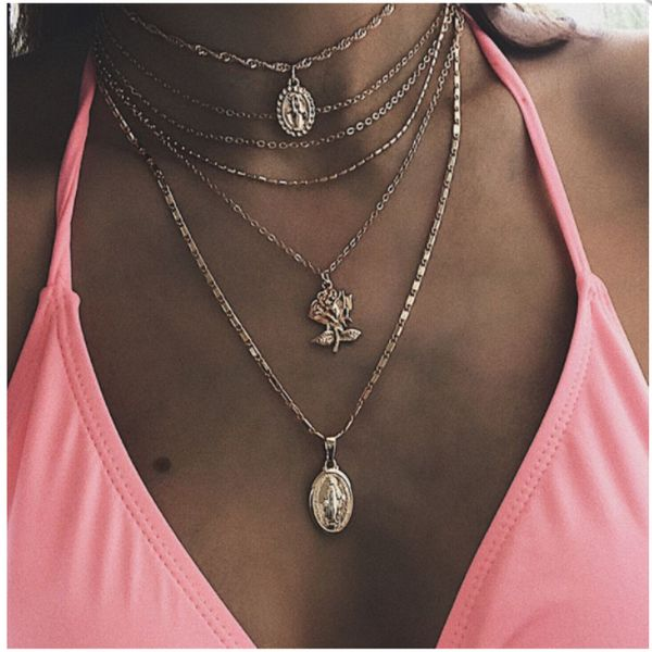 Summer new product personality exaggerated accessories fashion wild geometric alloy rose Jesus necklace wholesale nihaojewelry NHGY219471