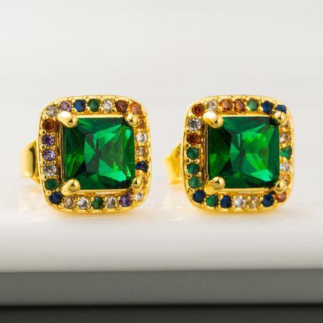 retro personality luxury emerald earrings ladies brass 18K gold plated micro-set zircon earrings wholesale nihaojewelry NHLN219474's discount tags
