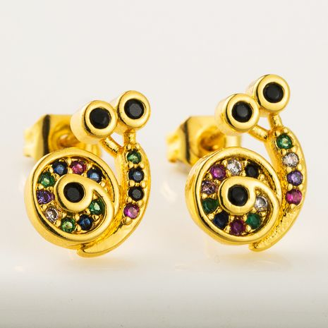 personality creative snail earrings with colorful zircon hypoallergenic pure copper retro earrings wholesale nihaojewelry NHLN219475's discount tags