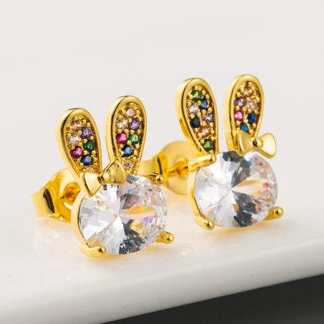Korean fashion high-quality brass plated 18K gold micro-set color zircon earrings cute rabbit shiny temperament earrings wholesale nihaojewelry NHLN219478's discount tags