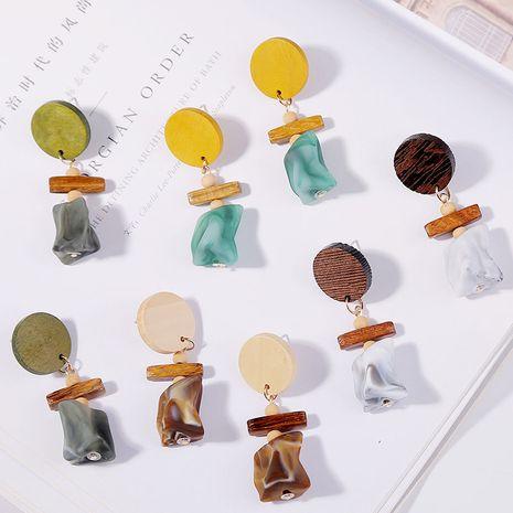 Coréen mince visage géométrique bois acrylique boucles d'oreilles résine boucles d'oreilles bijoux en gros nihaojewelry NHLA219481's discount tags