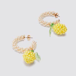 fashion trend handmade beaded pineapple earrings personality pearl earrings jewelry wholesale nihaojewelry NHLA219484's discount tags