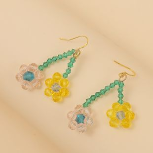 Korean cute hand-woven crystal flower earrings trend creative exquisite earring jewelry wholesale nihaojewelry NHLA219485's discount tags